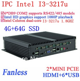 Industrial Control PC I3-3217u Gigabit Ethernet 6USB 6 COM 4G RAM 64G SSD WIN7 WIN8 LINUX Free Drive NAS Free 7 24 Hours