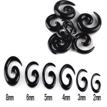 Wholesale 120Pcs/lot Black Spiral Ear Tapers Piercing Body Jewelry Lot Acrylic Fake Expander Plug Tunnel Kit