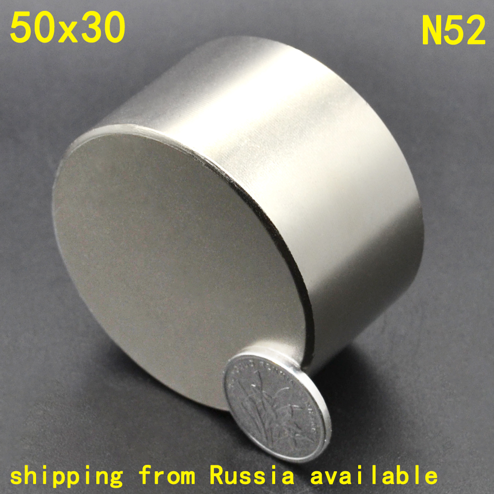 1Pcs N52 50 x 30 Permanent Round Magnet 50*30 50mm x 30mm Big Super Strong Powerful Neodymium Magnet 50 30 1pc strong neodymium magnet n52 50mm x 30mm powerful neodimio super magnets imanes free shipping