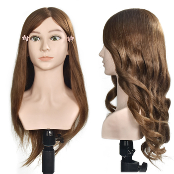 Mannequin Head With 20 100% Human Hair Dummy Doll Long Hairdressing Training Model with Big Shoulder