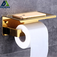 Lüks Altın Rulo Kağıt Doku Tutucu Duvar Monteli Tuvalet Kağıdı Tutucu Raf Pirinç Banyo Cep Telefonu Raf Çift Kağıt Çubuk