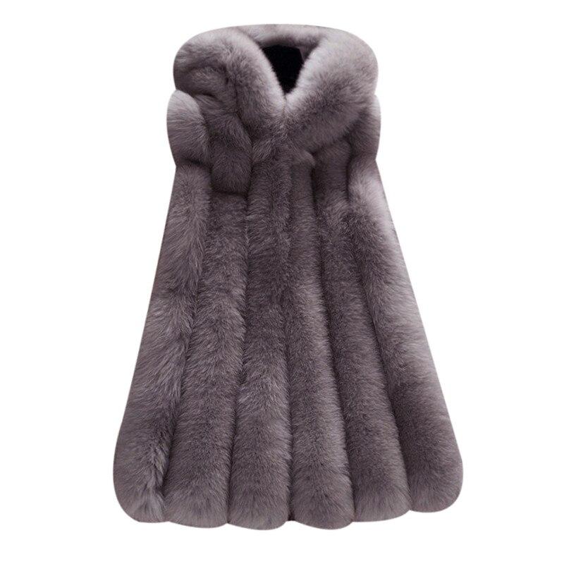 Femme Hiver Taille Manteau 4 Capuche En Sans Longue 5 2 De 1 À 3 Veste Chaud Manches La 2018 Fourrure Épais Plus Lapin Gilet Femmes Fausse R8qYSAwTf
