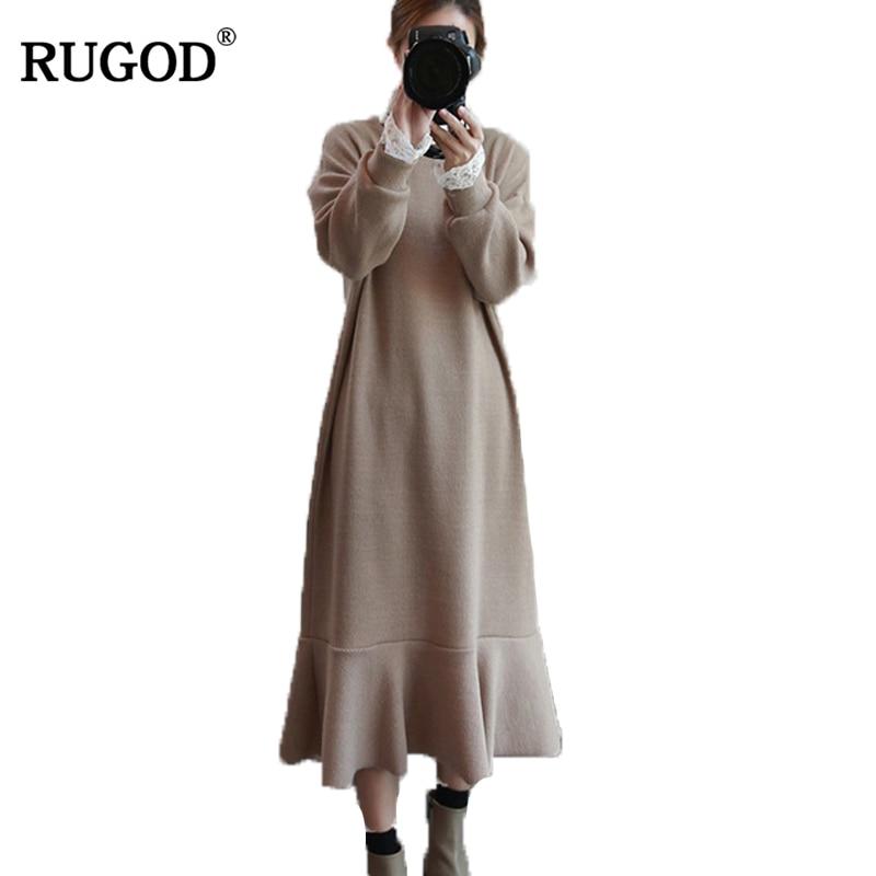 RUGOD New Year Spring Plus Size Woman Sweater Dress winter Dress Female Knittied Loose Dress Solid Sweater Warm Femme Robe