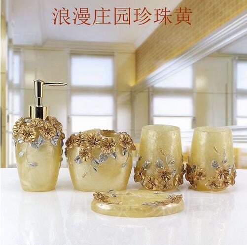 Tasse brosse salle de bain ensemble luxueux mode résine cinq pièces titulaire bain gel bouteille savon boîte porte-brosse à dents bouche appareils