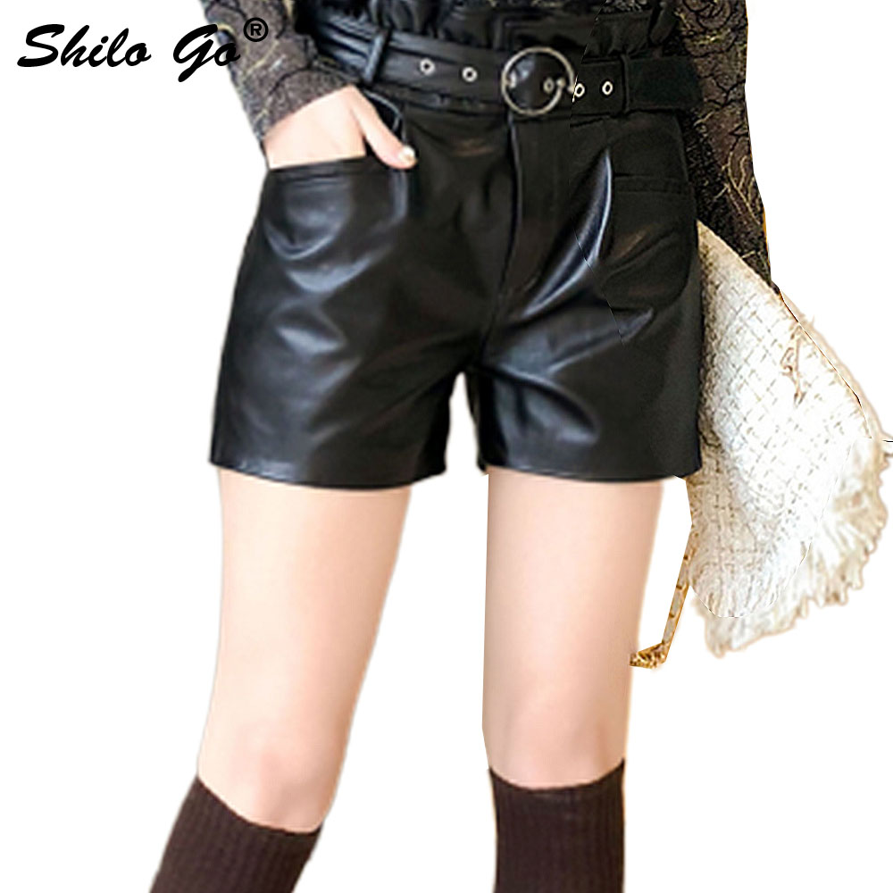 SHILO GO Leather Shorts Womens Spring Fashion Sheepskin Genuine Leather Shorts High Waist Round Rivet Belt Concise Straight