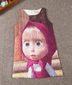 Summer girls sleeveless toddler  dress fashion Princess Cartoon  Masha and Bear dresses for girls children clothing