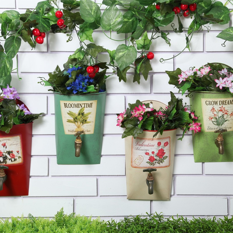 Wall hanging flower pot wrought iron pastoral style for Blumentopf wand