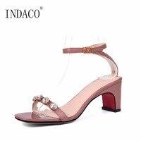 White Pink Leather Ankle Strap Rhinestone Sandals 6cm White Pink Black High Heels Sandals Women