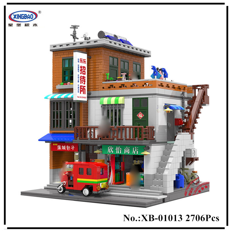 IN STOCK XingBao 01013 2706 pcs Genuine Creative MOC City Series The Urban Village Set Building Blocks Bricks Educational Toys in stock xingbao 01013 2706 pcs genuine creative moc city series the urban village set building blocks bricks toys model gift