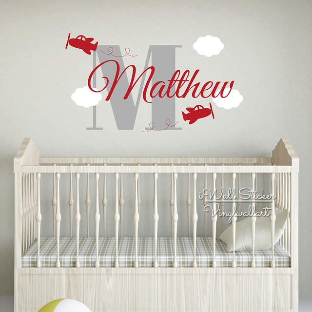 Boys Name Wall Sticker Airplane Decal Baby Nursery Cut Vinyl Stickers Kids Room Personalized