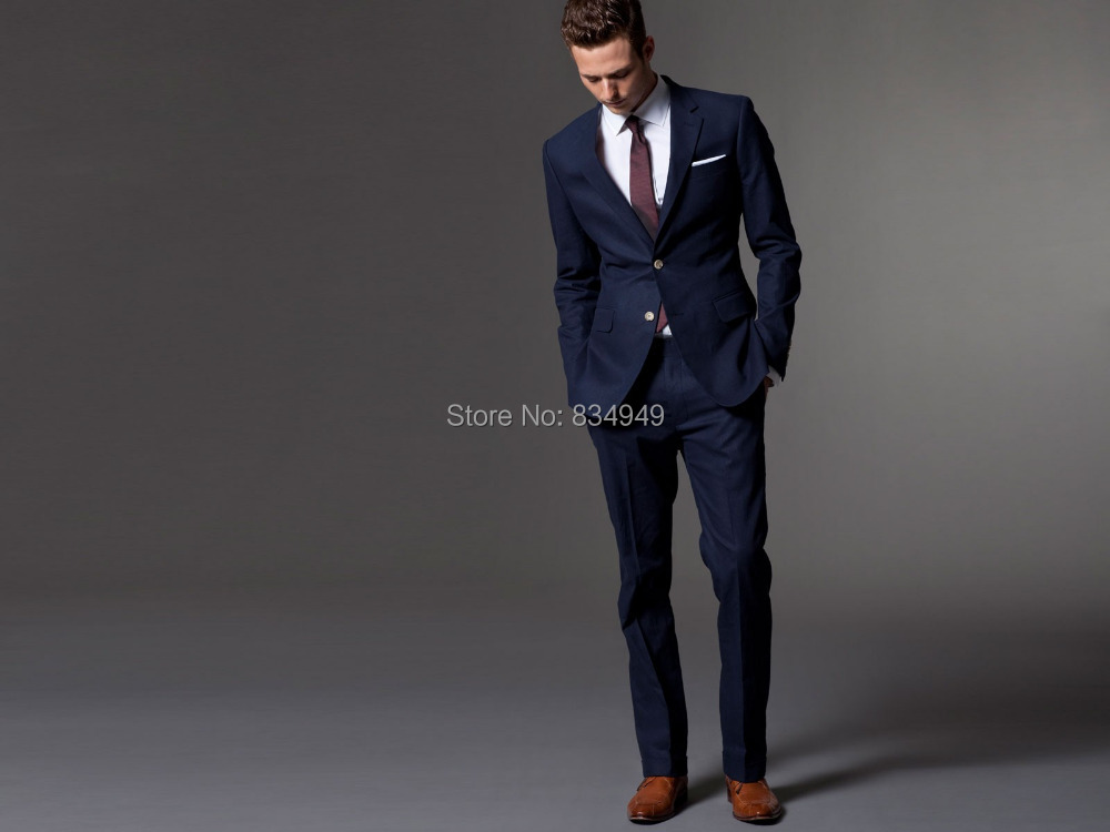 dower me Men Suit Navy Blue Wedding Suits For Men Slim Fit