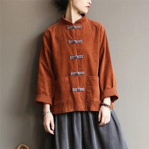 Image 2 - Johnature kobiety sztruks koszule bluzki w stylu Vintage chiński styl topy 2020 jesień nowy Solid Color przycisk luźna, wysoka wysokiej jakości koszule