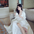 Silk Satin Women's Long Robe Royal Beige Sleepwear Embroidery Silk Satin Nightgown Two Pieces Set