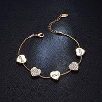 Love Heart Rose Gold Bracelet Strass Korean Luxury Elegant Pulseiras Wholesale Bijoux Femme Pulseras Braslet Women