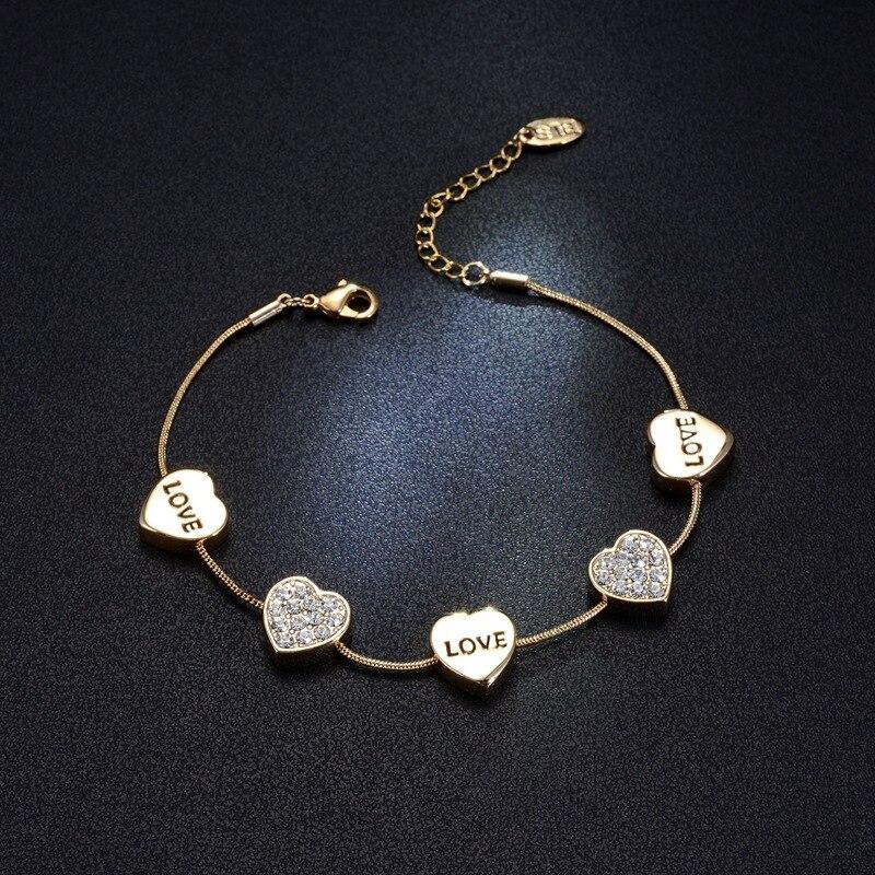 Love heart rose gold bracelet strass/korean luxury elegant pulseiras wholesale/bijoux femme/pulseras/braslet/women jewelry