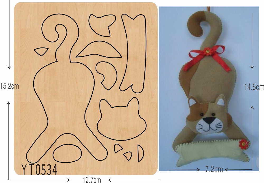 Cute kitten 4 DIY new wooden mould cutting dies for scrapbooking Thickness 15 8mm YT0534