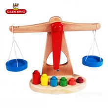 GEEK KING Montessori teaching aids balance scale baby balance game early education wooden puzzle children toys free shipping montessori teaching aids children wooden rainbow tower balance toys children clown balance blocks