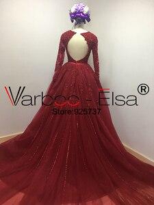 Image 3 - VARBOO_ELSA Đầm Vestido De Noiva 2020 Chiếu Trúc Hạt Cổ V Áo Váy Ren Đỏ Nhà Nguyện Đoàn Tàu Bầu Nửa Tay Trung Quốc Cô Dâu bộ Đồ Bầu