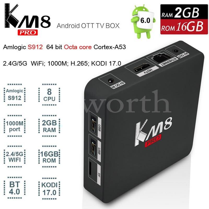KM8 Pro Android 6.0 TV Box 2GB 16GB Amlogic S912 Octa Core 4K Smart Mini PC Kodi 17.0 Professional 2.4G/5G Wifi BT4.0 V A95X M8S zidoo x6 android 5 1 tv box rk3368 octa core kodi 3d mini pc