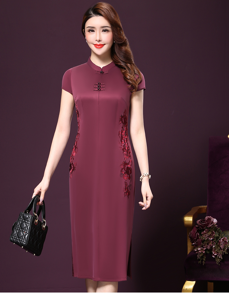 Plus size 4XL Chinese Style High-End Silk Vintage Embroidered Summer Dress Women Collar Short-Sleeve One-Step Dress female P168 7