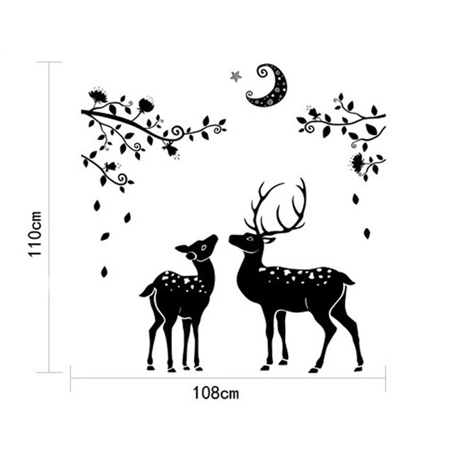 Moonless Deer Silhouettes Christmas Decoration Decal Window Stickers Home  Decor Dropship 170902