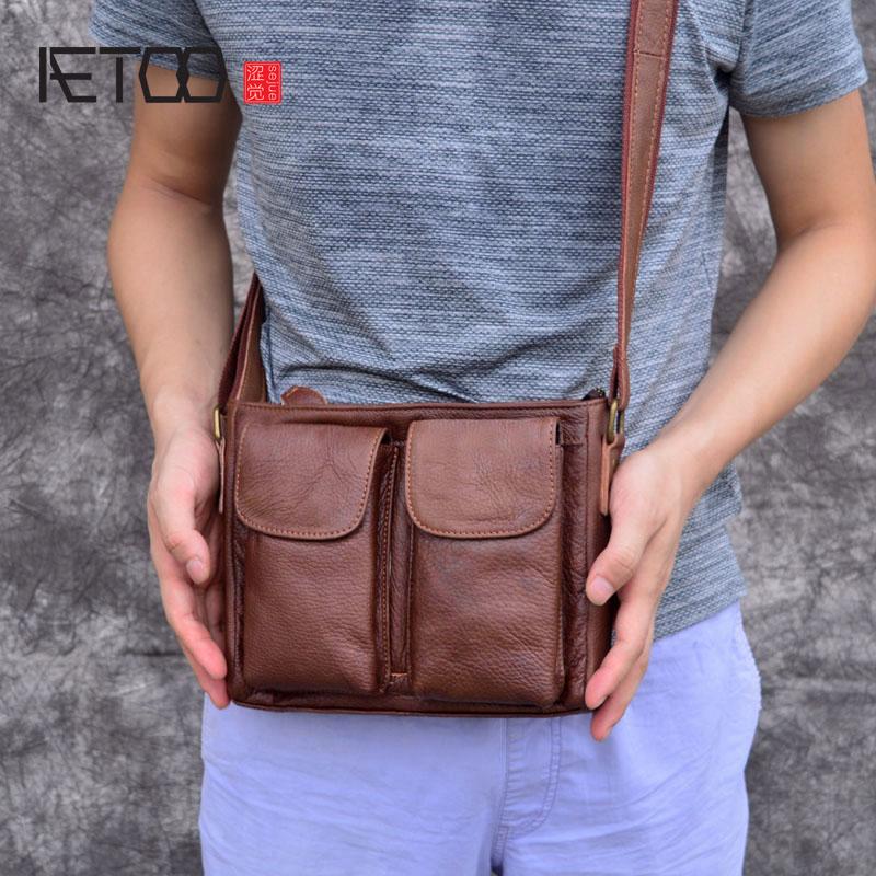 AETOO Original retro men's leather pouches Handmade suede leather shoulders diagonal messenger bag casual men's bag