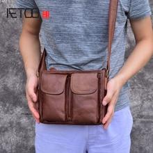 AETOO Original retro mens leather pouches Handmade suede leather shoulders diagonal messenger bag casual mens bag
