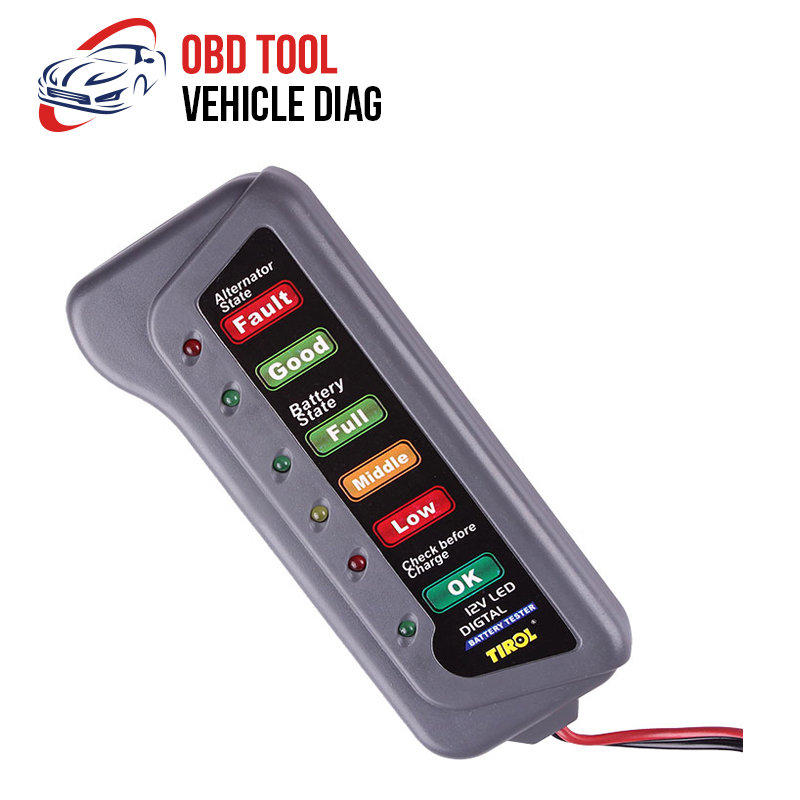 12V <font><b>Car</b></font> <font><b>Battery</b></font> Tester Digital Alternator Tester 6 LED Lights Display <font><b>Car</b></font> <font><b>Diagnostic</b></font> Auto <font><b>Battery</b></font> Tester <font><b>Car</b></font> <font><b>Tool</b></font> image