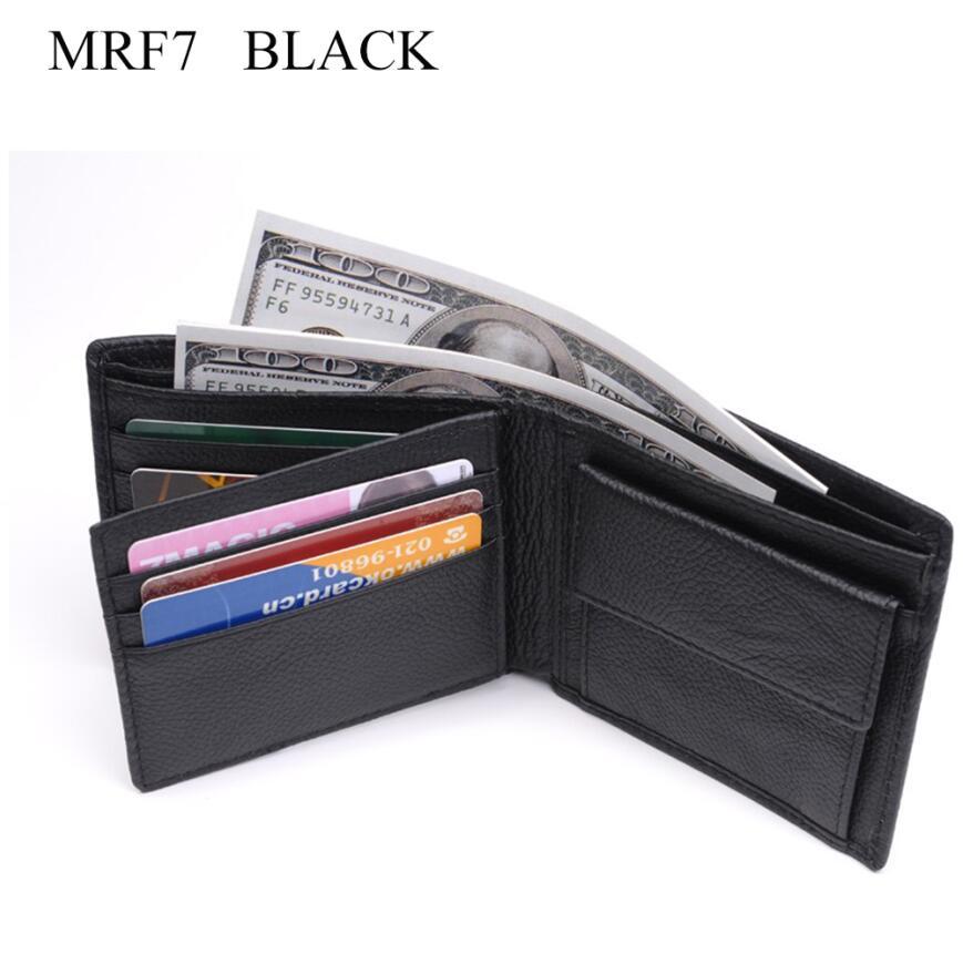 Новинка, мужской кошелек из натуральной кожи, брендовые кошельки для мужчин, черный, коричневый, двойной кошелек, RFID Блокировка, кошельки с подарочной коробкой MRF7 - Цвет: black