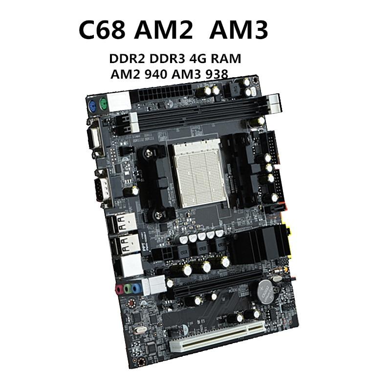 C68 carte mere AM2 carte mère AM3 carte mère 940 broches CPU supporte DDR2 DDR3 4g monocanal