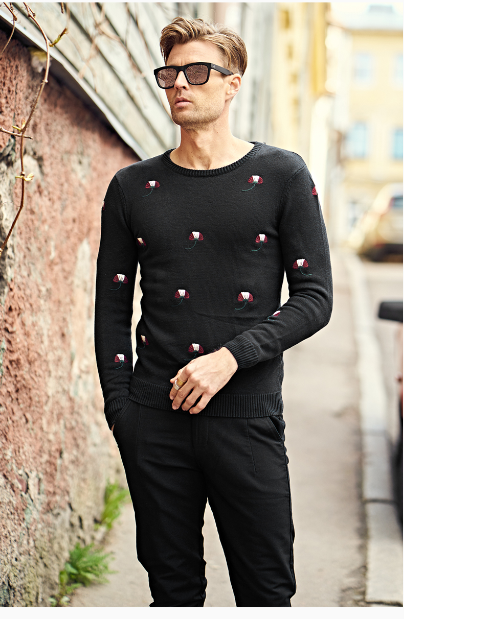 HTB1n.UIbMsSMeJjSspeq6y77VXaA - Enjeolon brand top fall winter warm knitted pullovers Sweater man 100 Cotton pattern pullober o-neck pullover Sweater men MY3227