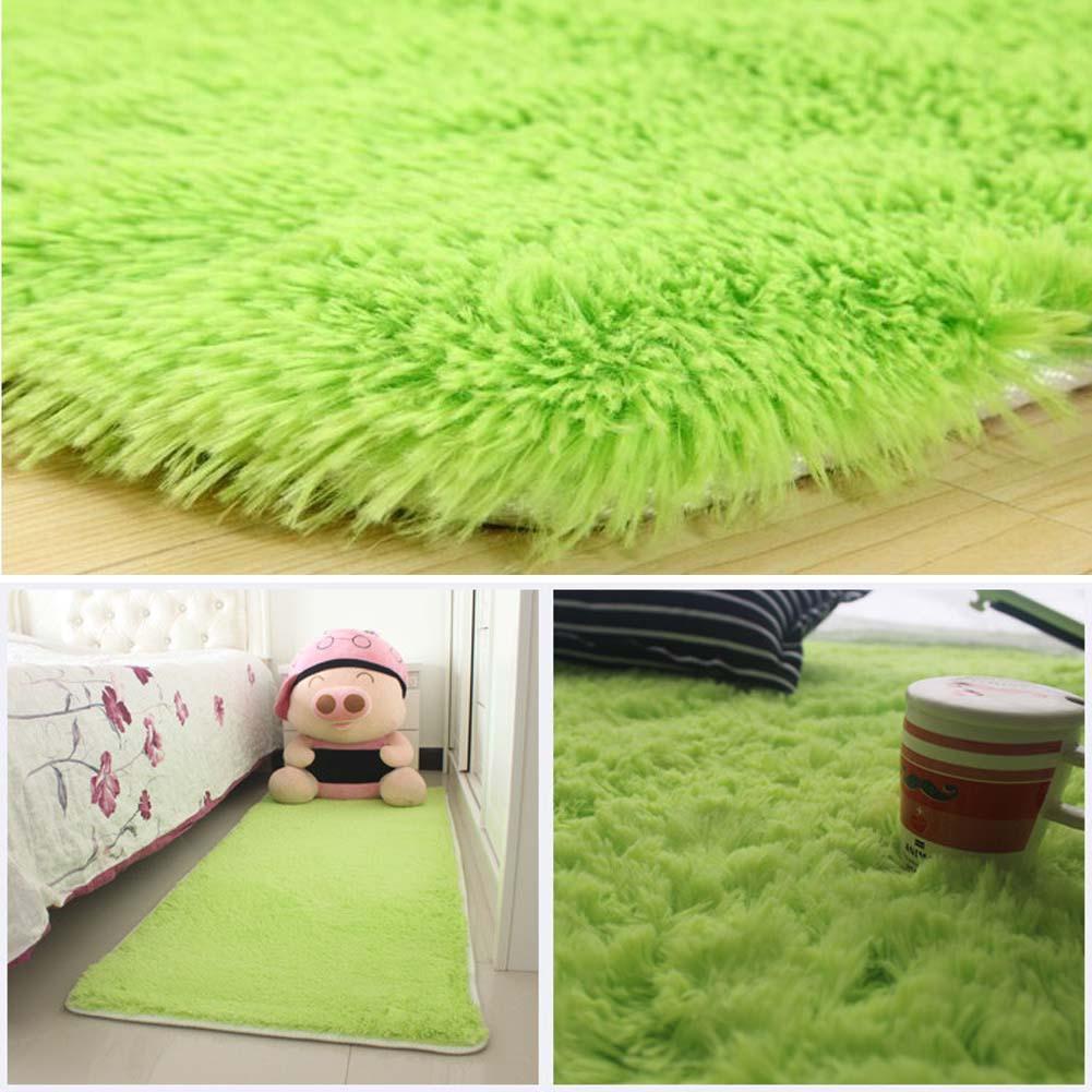 Fluffy Rugs Anti Skiding Shaggy Area Rug Dining Room Carpet Floor Mats Green