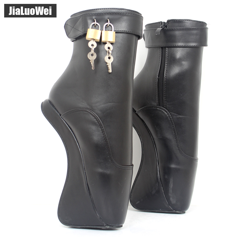 Women Fashion Sexy Fetish Ankle High Heel Pumps Suede Buckle Stiletto Thin Heelless padLocks Boots Gold
