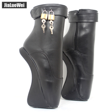 Women Fashion Sexy Ankle Boots High Heels Pumps Suede Buckle Stiletto Thin Heelless Lock Gold Shiny Ballet Style Shoes
