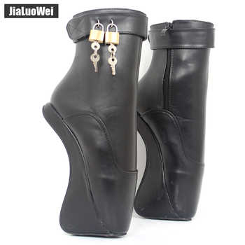 Women Fashion Sexy Fetish Ankle High Heel Pumps Suede Buckle Stiletto Thin Heelless padLocks Boots Gold Shiny Ballet Style Shoes - DISCOUNT ITEM  0% OFF All Category