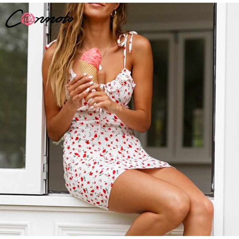 Conmoto Casual Floral Print Short Dress Women 19 Summer Holiday Sexy Beach Chiffon Dress Dress Femme Lace Up Dress Vestidos 6