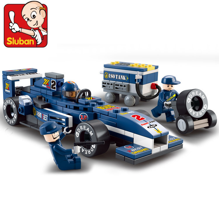 Genuine wholesale small Luban building block formula 0351 1:32 <font><b>Blu</b></font> <font><b>ray</b></font> F1 racing children puzzle assembled <font><b>toys</b></font>