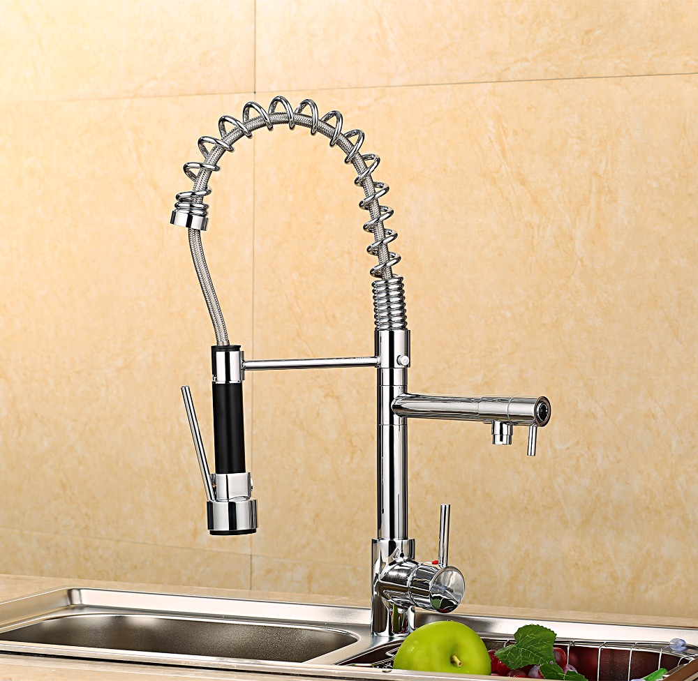 2016 Quality Spring Pull Out Kitchen Sprayer Faucet/ Brass Material Modern Chrome Design Hot And Cold Wash Basin Sink Mixer Tap high quality new arrival kitchen faucet chrome brass hot and cold water tap sink mixer tap wash basin faucet basin mixer bm