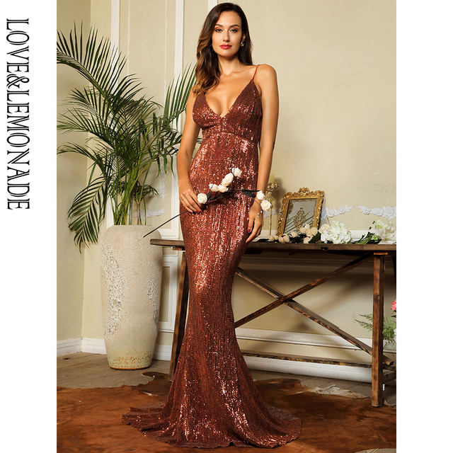 $ US $41.35 LOVE&LEMONADE Sexy Deep V-Neck Open Back Elastic Sequins Bodycon Long Dress LM80119 brown