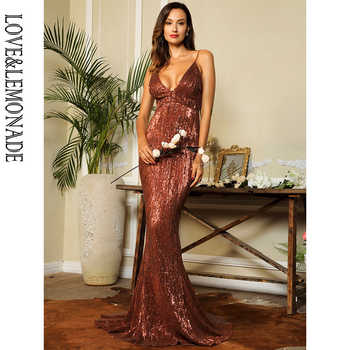 Love&Lemonade Sexy Deep V-Neck Open Back Elastic Sequins Bodycon Long Dress LM80119 brown - DISCOUNT ITEM  10% OFF All Category