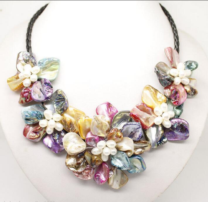 Necklace Flower Sea-Shell Freshwater Pearl Multicolor 18-Stunning Hot-Sale New-Style title=