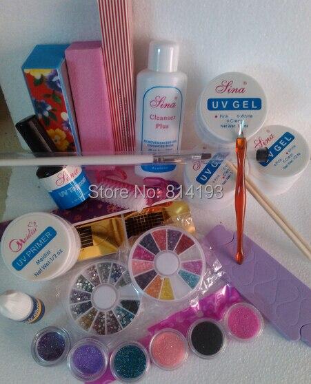 PRO UV GEL NAIL KIT + 6 Powders Glues FILE BLOCKS Primer Tips kits Sets