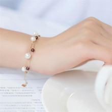 4mm Gemstone Red Garnet With 5.5-6mm White Round Freshwater Pearl Bracelet 18K Gold Charm Link Chain