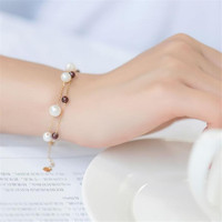 4mm Gemstone Red Garnet With 5.5 6mm White Round Freshwater Pearl Bracelet 18K Gold Charm Link Chain Bracelet