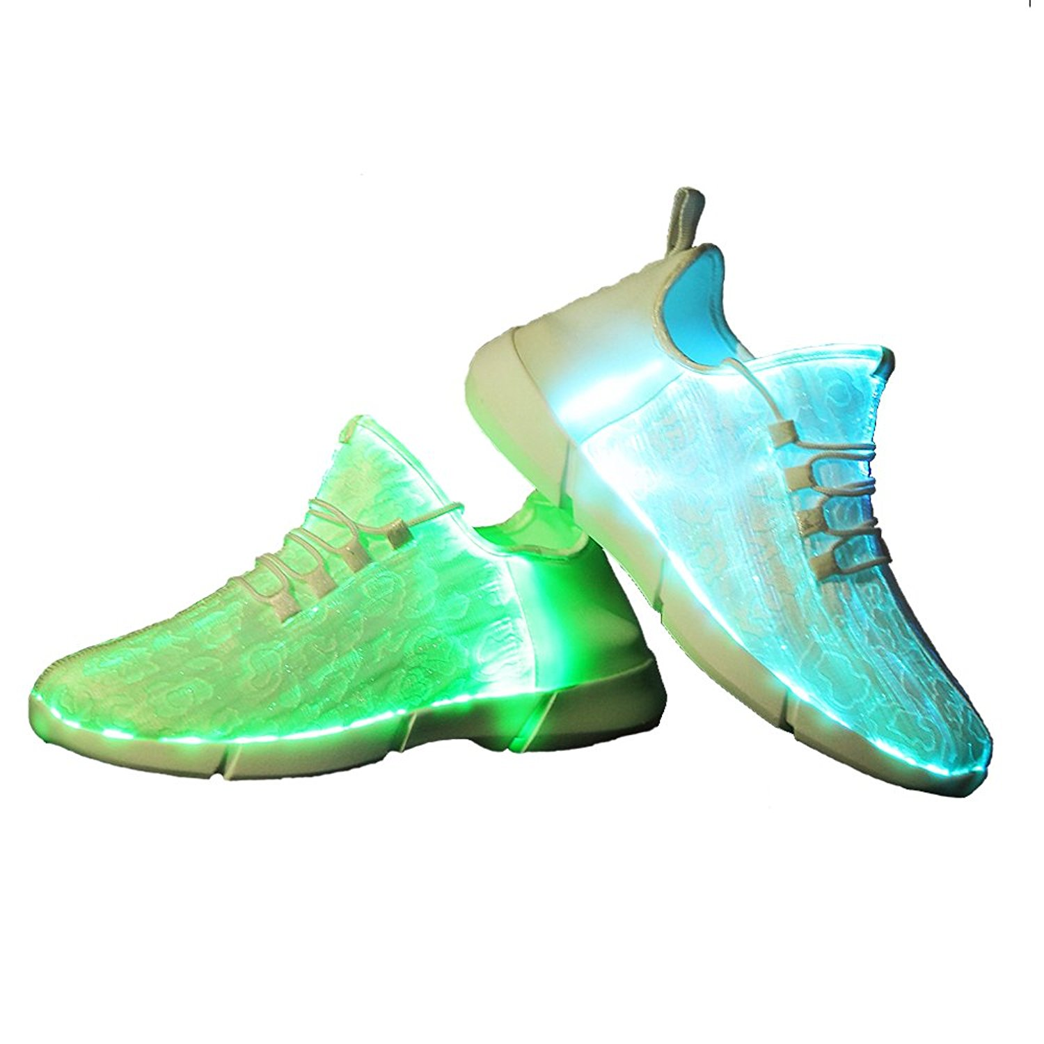 Luminous Fiber Optic Fabric Light Up Shoes 11 Colors Flashing  White Teenager Girls&Boys USB Rechargeable Sneakers with Light joyyou brand usb children boys girls glowing luminous sneakers with light up led teenage kids shoes illuminate school footwear
