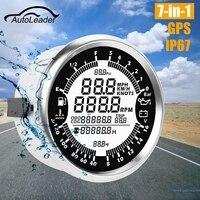 Autoleader 7in1 Waterproof GPS Speedometer Oil Pressure Gauge Fuel Gauge Tachometer 85mm