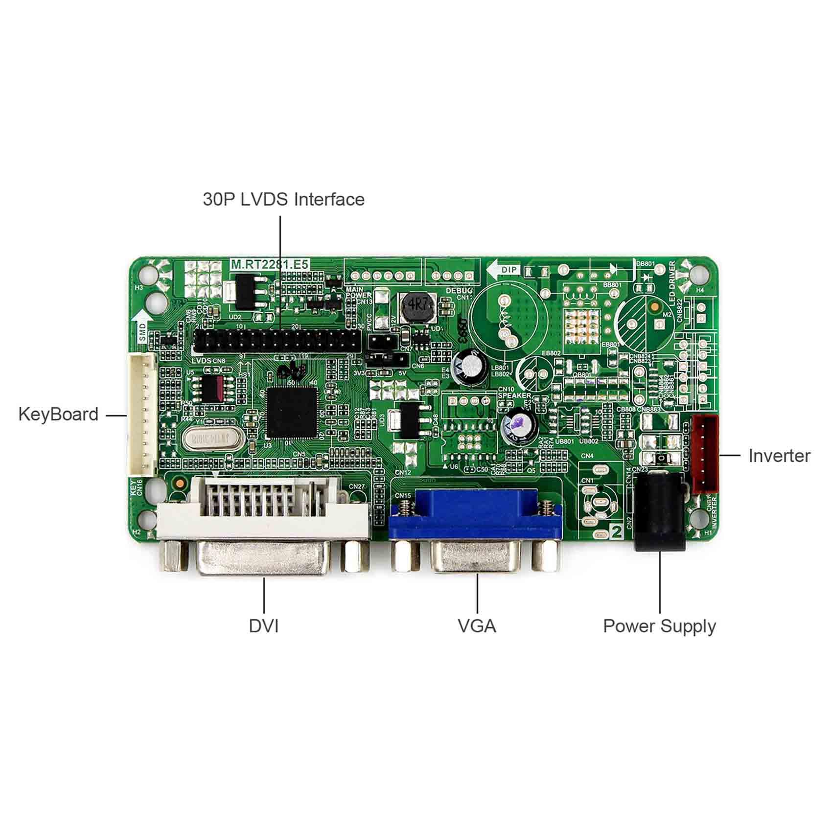 DVI+VGA controller board+LVDS Tcon board+3.5inch PD035VX2 640*480 LCD panel