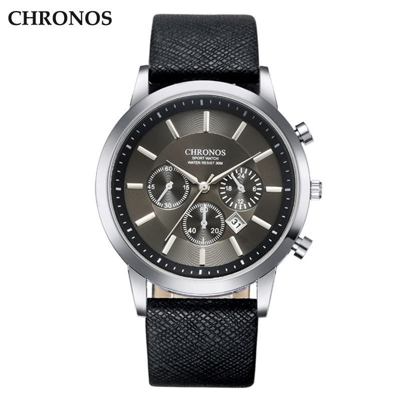 CHRONOS Men Wrist Watch Leather Strap Quartz Watches Men's Business Watch Male Date Clock Black Alloy Sport Men's Watch