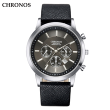 CHRONOS Men Wrist Watch Leather Strap Quartz Watches Men's Business Watch Male Date Clock Black Alloy Sport Men's Watch