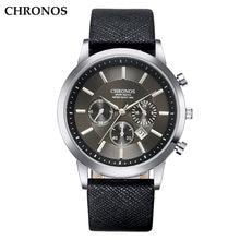 Chronos мужские наручные часы кожаный ремешок кварцевые деловые